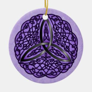 Purple and Black Celtic Art Trinity Knot Ceramic Ornament
