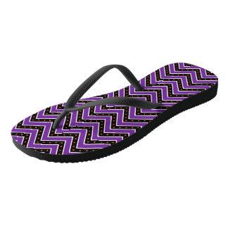 Purple and Black Chevrons Flip Flops