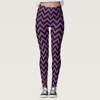 Purple and Black Chevrons Pattern Zigzag Striped Leggings