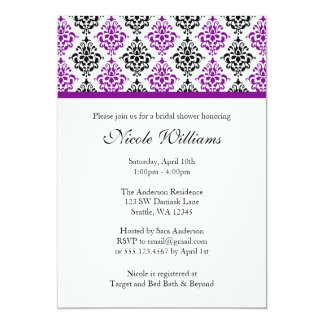 Purple and Black Damask Bridal Shower Card