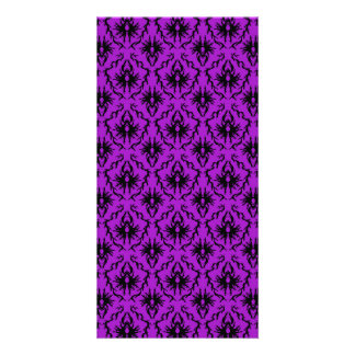 Purple and Black Damask Design Gothic Photo Greeting Card