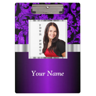 Purple and black damask photo template clipboard