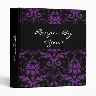 Purple and Black Damask Recipe Cook Book Binder