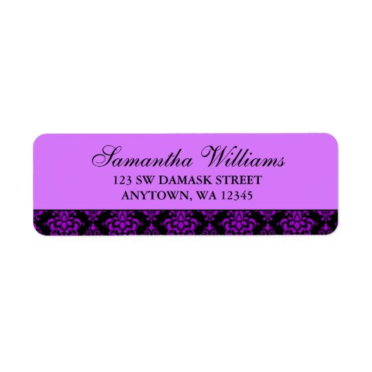 Purple and Black Damask Return Address Labels