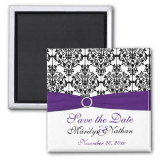 Purple and Black Damask Wedding Favor Magnet