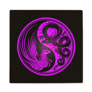 Purple and Black Dragon Phoenix Yin Yang Wood Coaster
