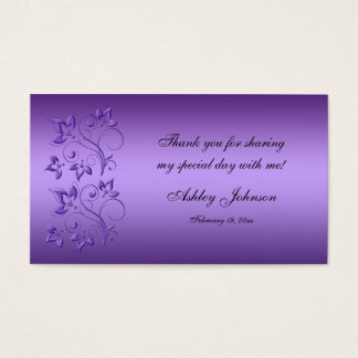 Purple and Black Floral Party Favor Tag