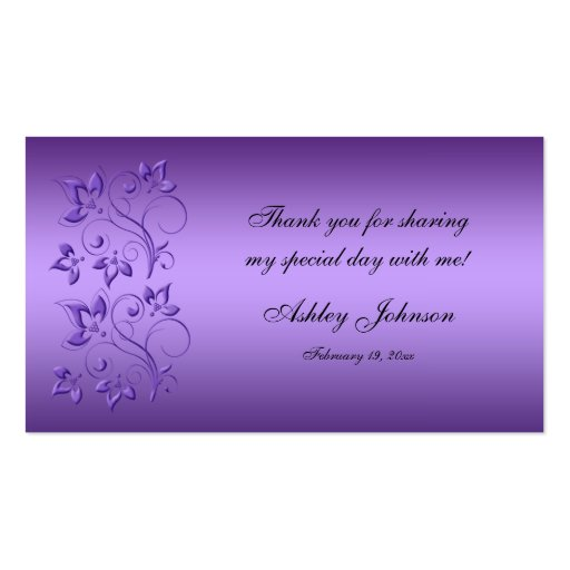 Purple and Black Floral Party Favor Tag Business Cards
