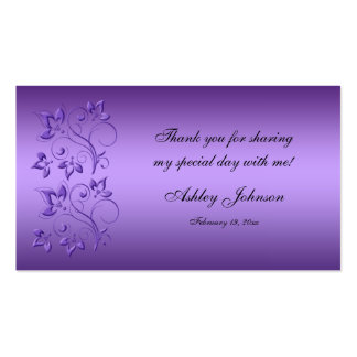 Purple and Black Floral Party Favor Tag Pack Of Standard Business Cards
