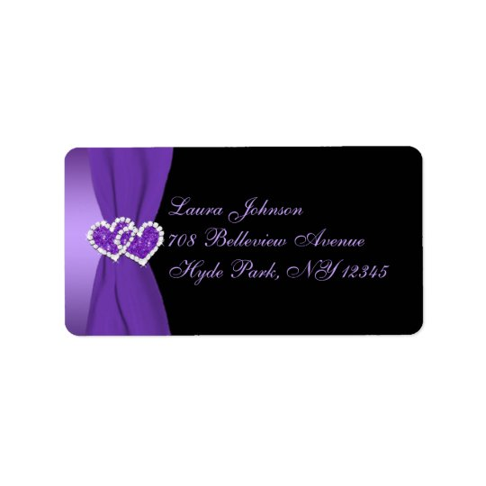 Purple and Black Floral Return Address Label