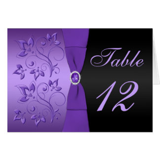 Purple and Black Floral Table Number Card