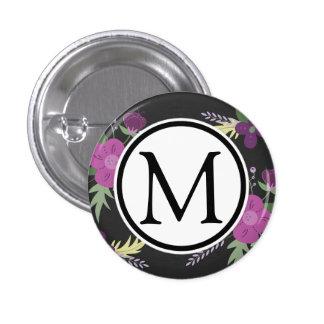 Purple and Black Flower Design 1 Inch Round Button