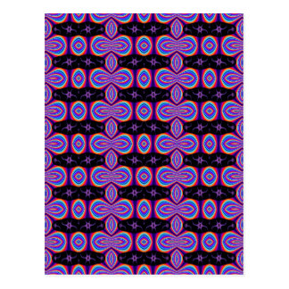 Purple and Black Fractal Pattern Postcard