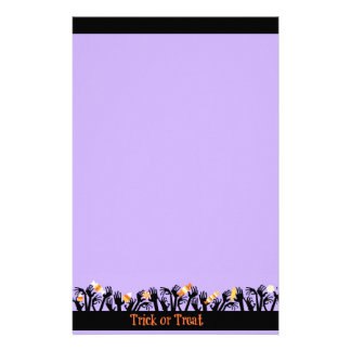 Purple and Black Haloween Candy Hands Stationery