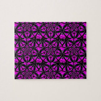 Purple and Black Hippie Pattern Jigsaw Puzzle