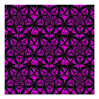 Purple and Black Hippie Pattern Posters