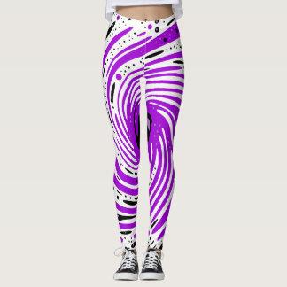 Purple and Black Ink Spiral Leggings