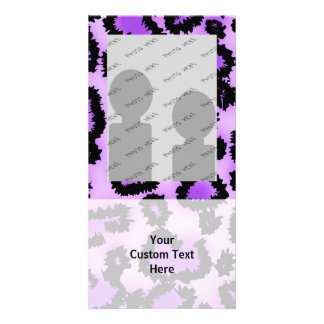 Purple and Black Leopard Print Pattern. Customized Photo Card