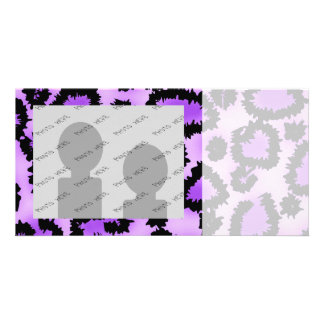Purple and Black Leopard Print Pattern Customized Photo Card