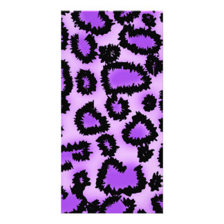 Purple and Black Leopard Print Pattern. Custom Photo Card
