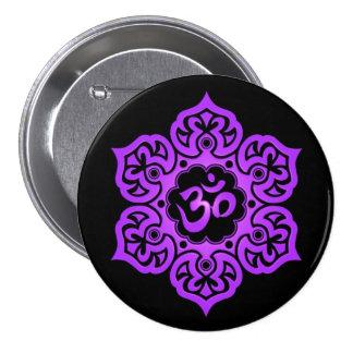 Purple and Black Lotus Flower Om Pin