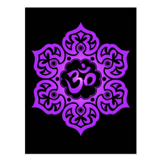 Purple and Black Lotus Flower Om Postcard