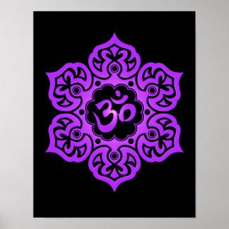 Purple and Black Lotus Flower Om Posters