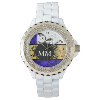 Purple and black monogram on white watch