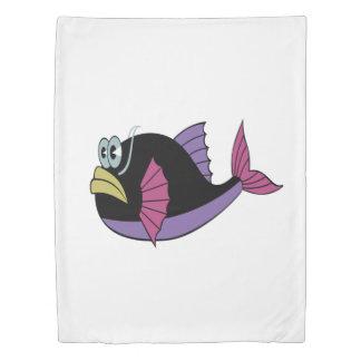 Purple and black multi color puffer fish duvet cover
