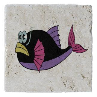 Purple and black multi color puffer fish trivet