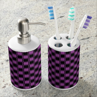 Purple and Black Outlined Squares Bathroom Set