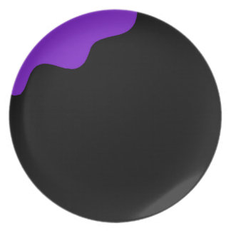 Purple and black party plates