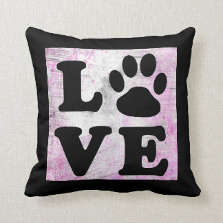 Purple and Black Paw Print Dog Cat Pillow