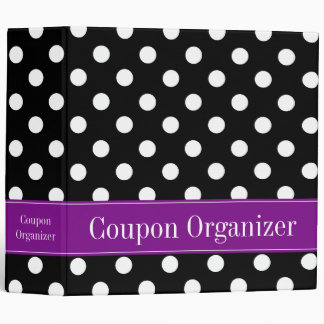 "Purple and Black Polka Dot 2"" Coupon Organizer Binder"