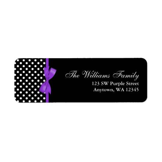 Purple and Black Polka Dot Bow
