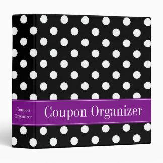 Purple and Black Polka Dot Coupon Organizer 3 Ring Binder