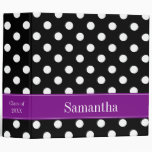 Purple and Black Polka Dot Personalized School 3 Ring Binders