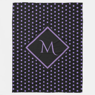 Purple and Black Polka Dots Pattern Monogram Fleece Blanket