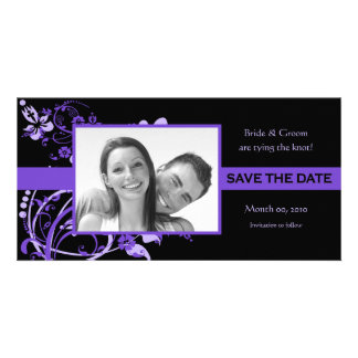 Purple and Black Save the Date Photo Cards