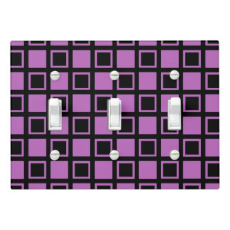 Purple and Black Squares Light Switch Cover