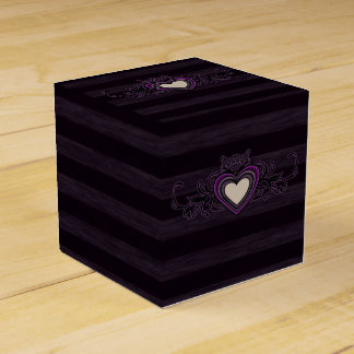 Purple and Black Stripes Heart Favor Box