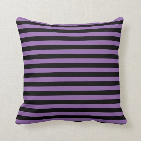 Purple and Black Stripes Throw Pillow