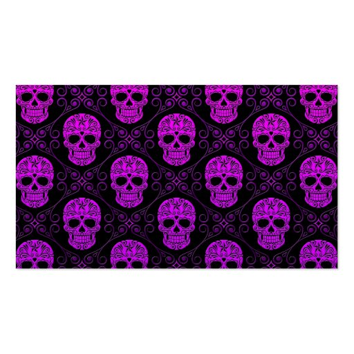 Purple and Black Sugar Skull Pattern Business Cards