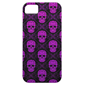 Purple and Black Sugar Skull Pattern iPhone 5 Cover