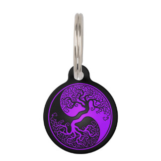 Purple and Black Tree of Life Yin Yang Pet Name Tag