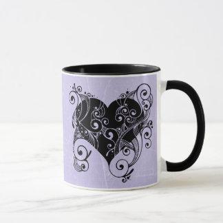 "Purple and Black Tribal Heart, ""You Have my Heart"" Mug"
