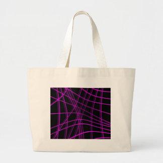 Purple and black warped lines large tote bag