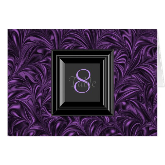 Purple and Black Wedding Table Cards