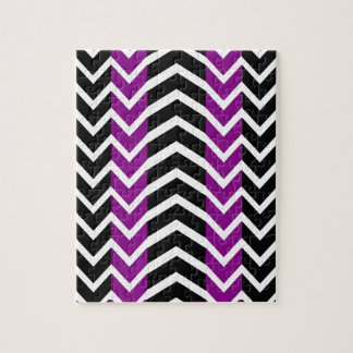 Purple and Black Whale Chevron Jigsaw Puzzle