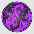 Purple and Black Yin Yang Phoenix Classic Round Sticker